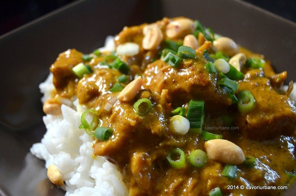 Pork curry with peanuts and coconut milk