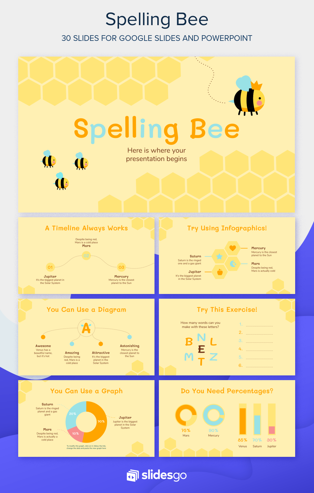 Download And Edit This Funny Spelling Bee Google Slides Theme And Ppt Template For Your Competitio Spelling Bee Presentation Template Free Google Slides Themes