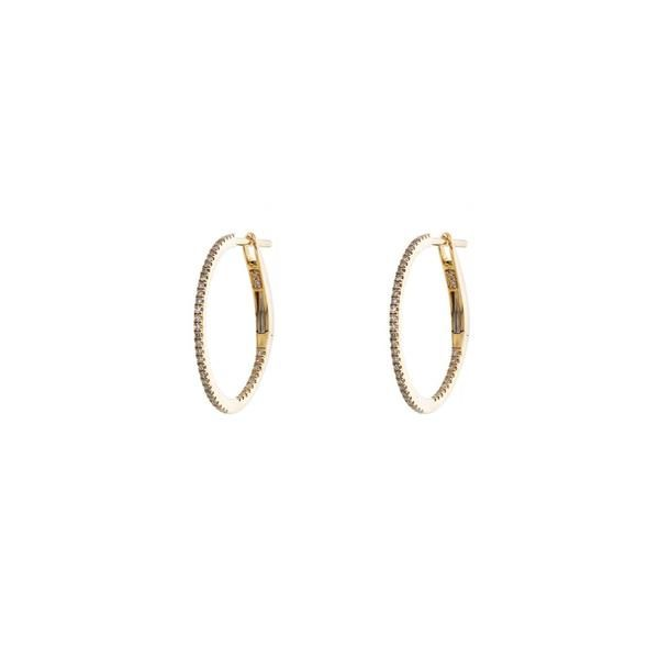 """""""Petite hoops are an everyday classic, these 18mm gold and diamond pave hoop earrings are a chic accessory. Also available in a 43mm version for those looking to make a bigger statement, or a medium sized 38mm version."""""""