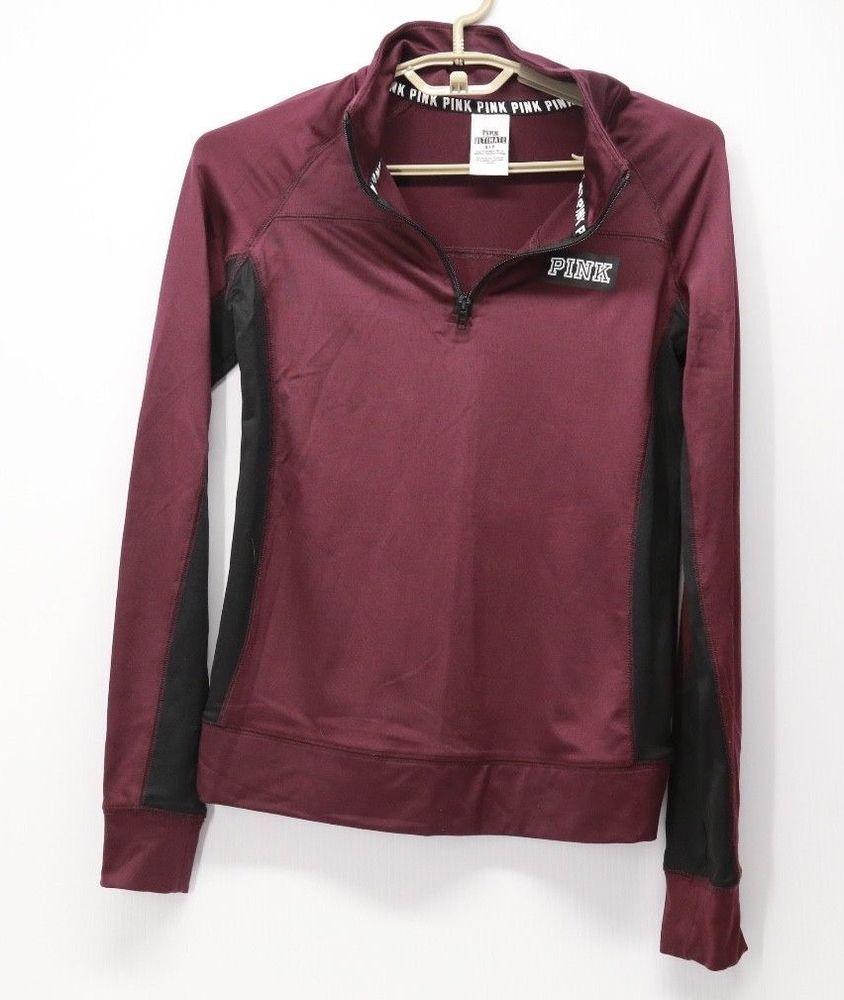 48f891100960d9 Victoria's Secret Pink Ultimate Athletic Sweater 1/4 Zip Black Maroon Small  #VictoriasSecret #Sweatshirt