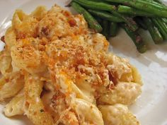 Amazing and gooey cream cheese mac and cheese with crunchy topping. Better than the blue box.