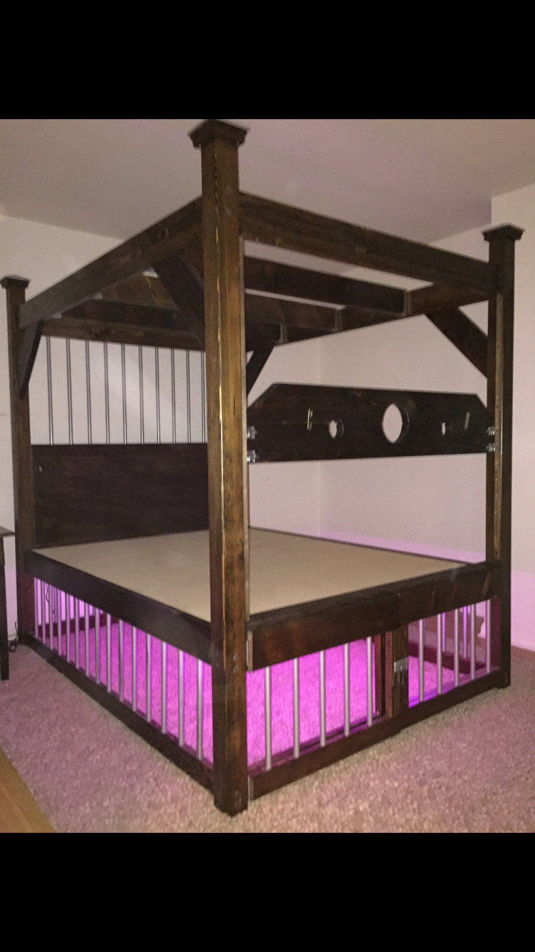 Queen lighted cage bed frame | Bondage Furniture | Pinterest | Bed ...