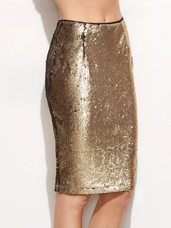 Online shopping for Gold Split Back Sequin Pencil Skirt from a great selection of women's fashion clothing & more at MakeMeChic.COM.