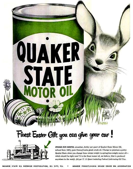 Easter 1949, Quaker State oil ad