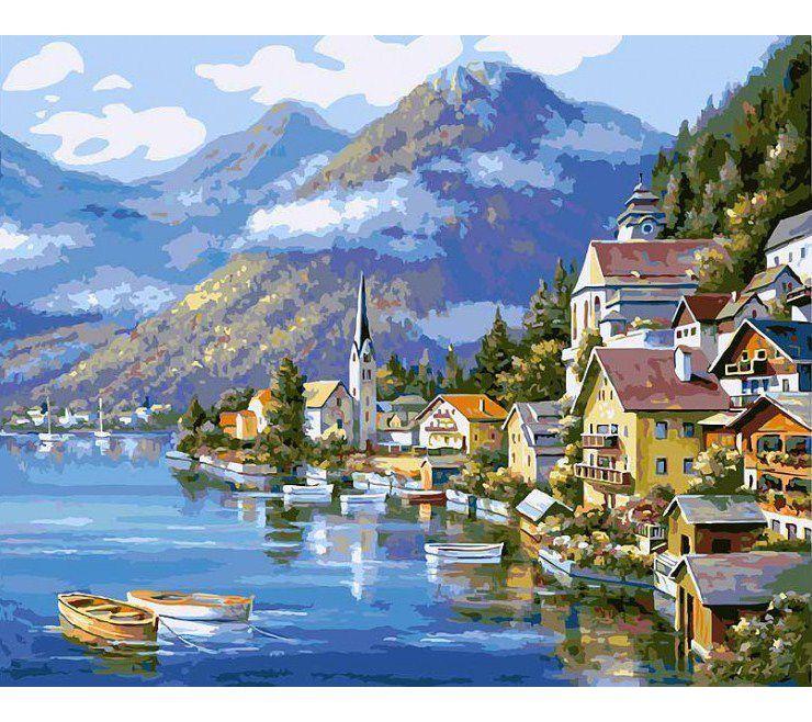"""Раскраска по номерам Белоснежка """"Хальштадт. Австрия"""" в ..."""