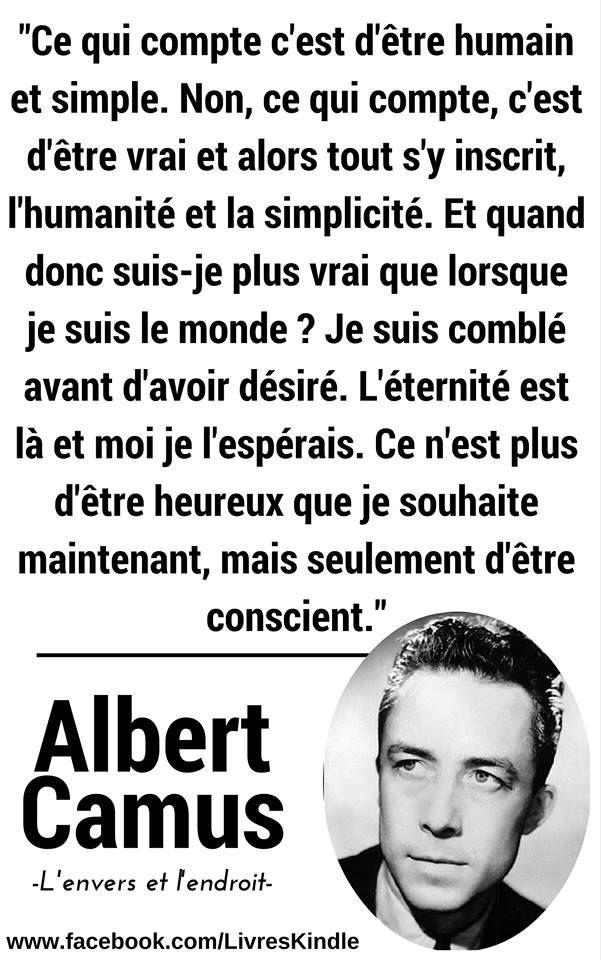 Albert Camus Lenvers Et Lendroit Citation Albert