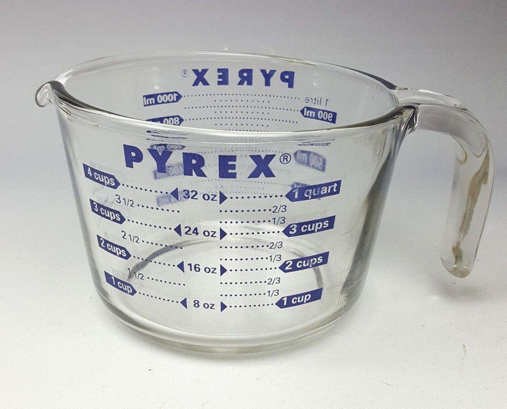 Pyrex glass 4-cup measuring cup blue print ounces liters | Pyrex ...