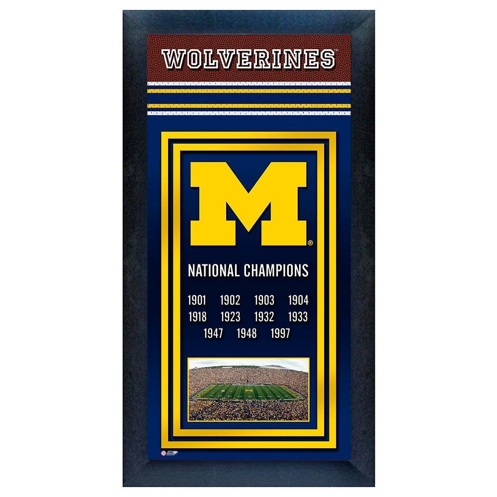 Michigan Wolverines National Champions Framed Wall Art, Multicolor ...