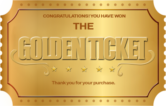 Package Insert The Golden Ticket Package Insert The Golden Ticket Client Winner Package Testimonial Contest Design Golden Ticket Tech Company Logos