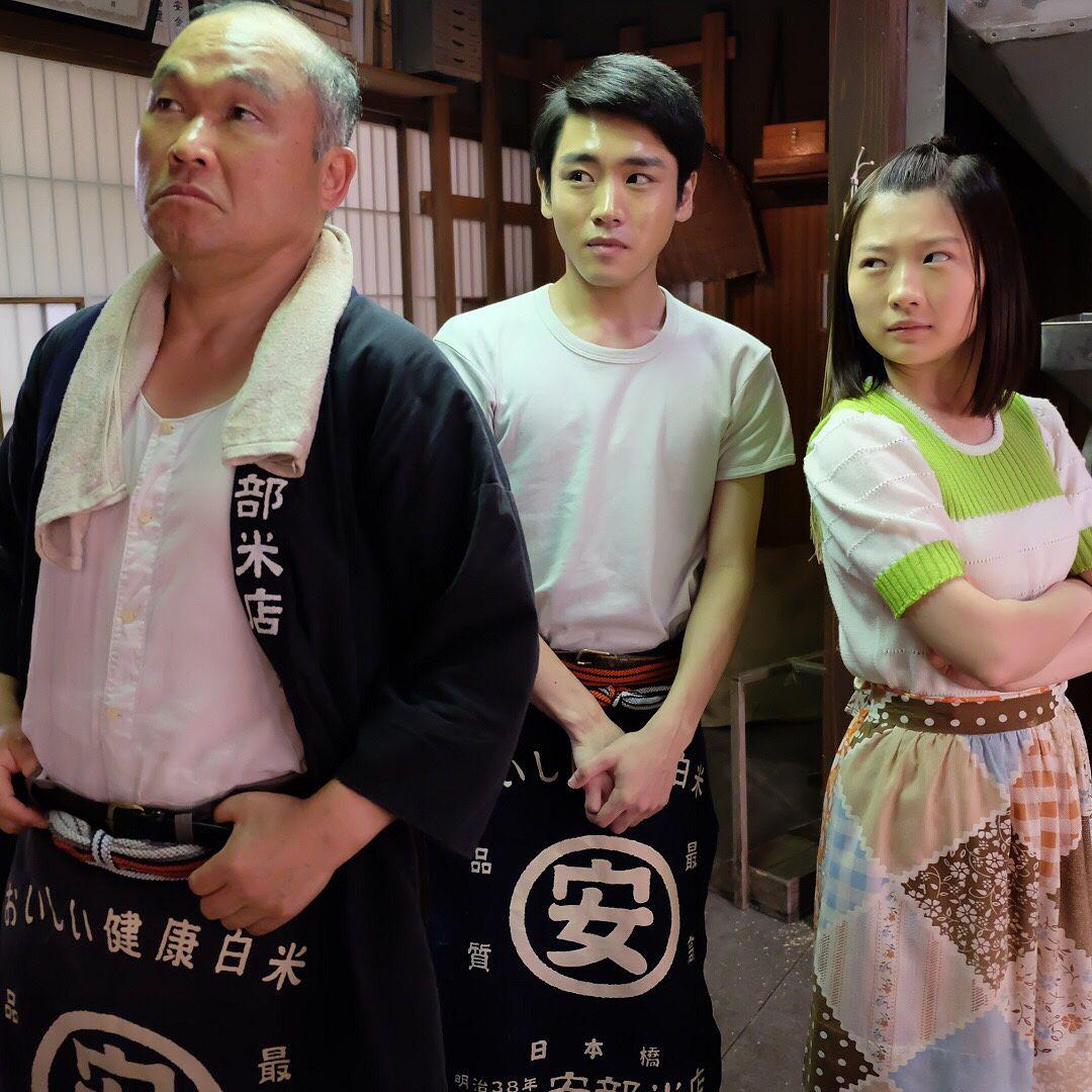 日本橋・安部米店の3人。ドラマでは見られない仲良しショット