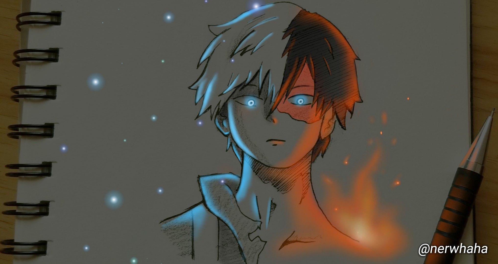رسم انمي استخدام الوان مضيئة Humanoid Sketch Art Anime