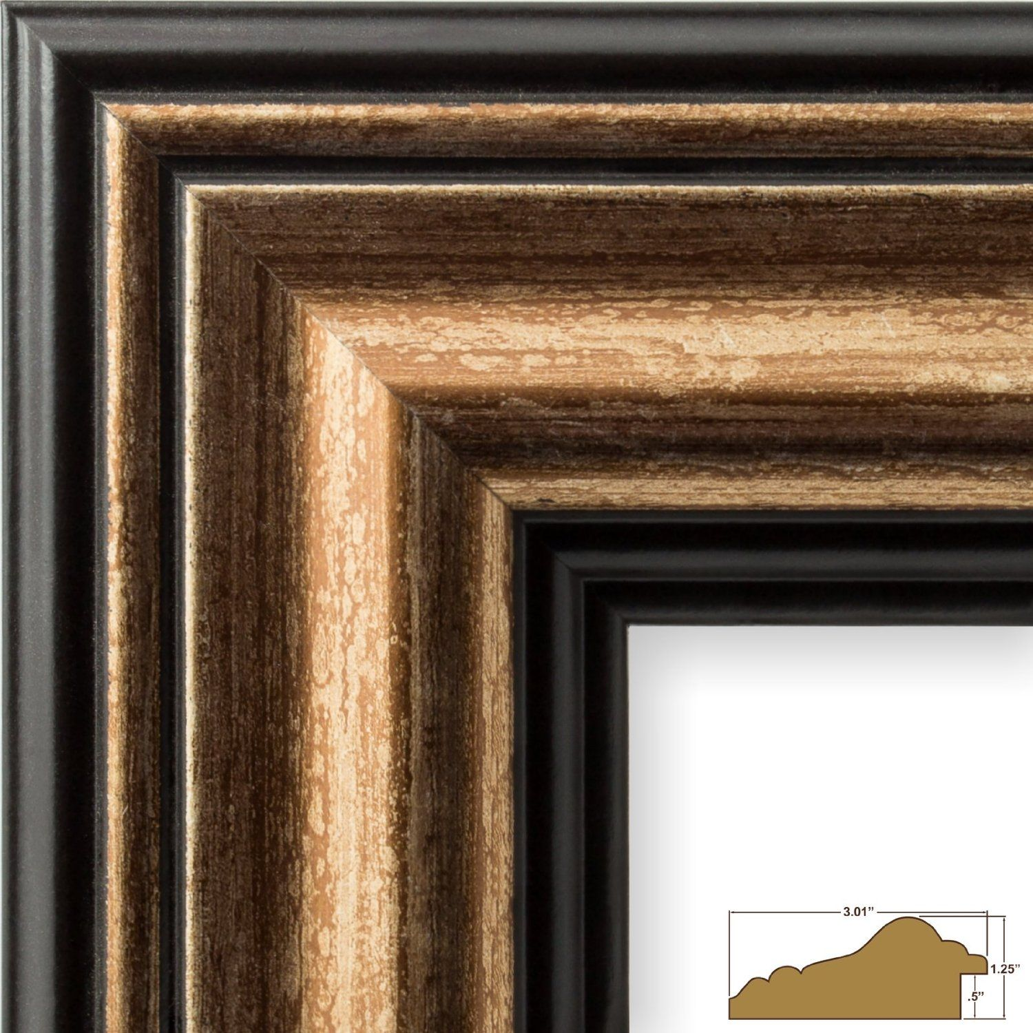 """Craig Frames Prairie Classic 2/"""" Country Brown Wood Picture Frame Custom Sizes"""
