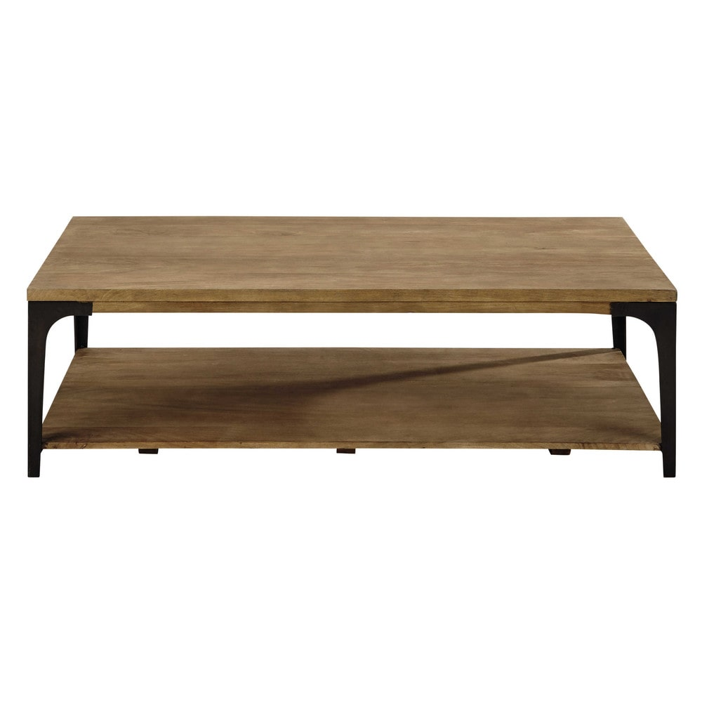 Table Basse En Manguier Massif Et Metal L 130 Cm Table Basse