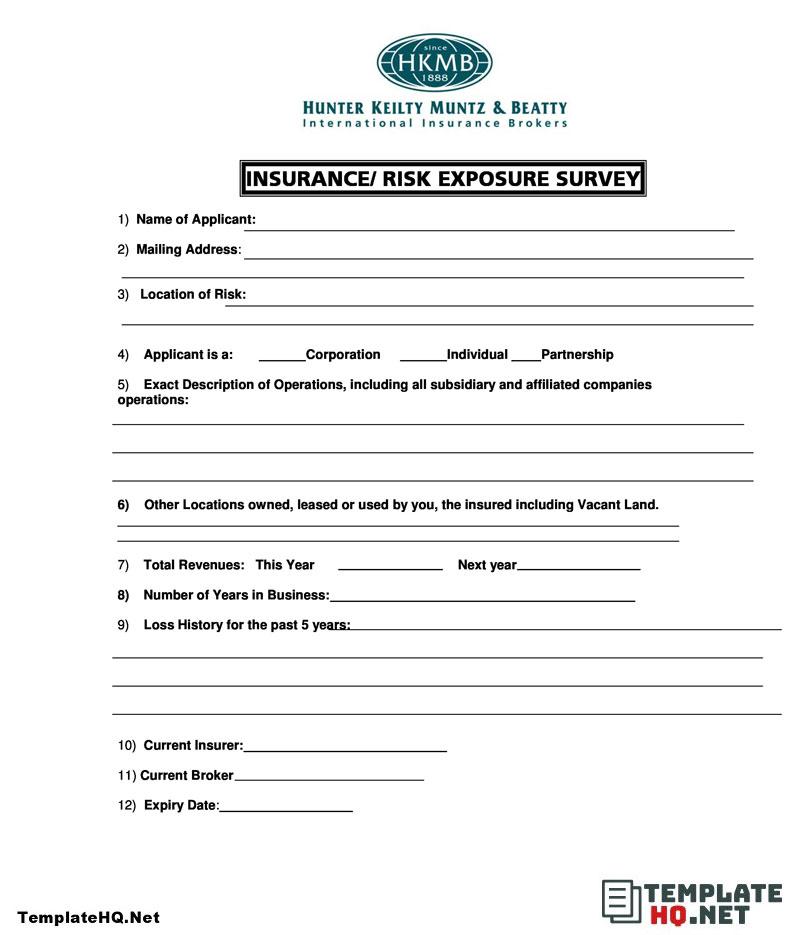 Insurance Survey Form Survey Form Sample Survey Survey Questions