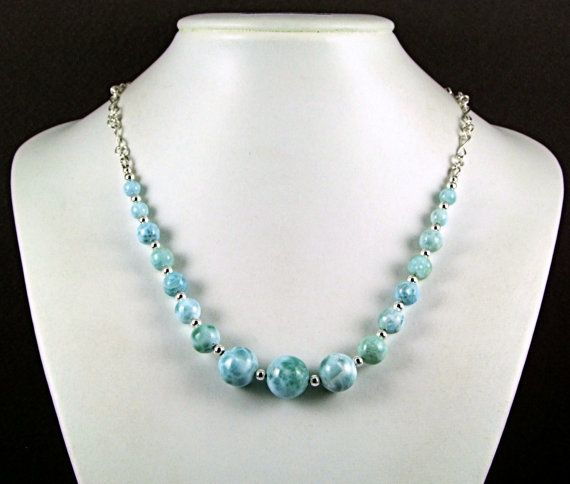 Larimar & Sterling Silver Graduated Necklace by TheSilverBear, $350.00