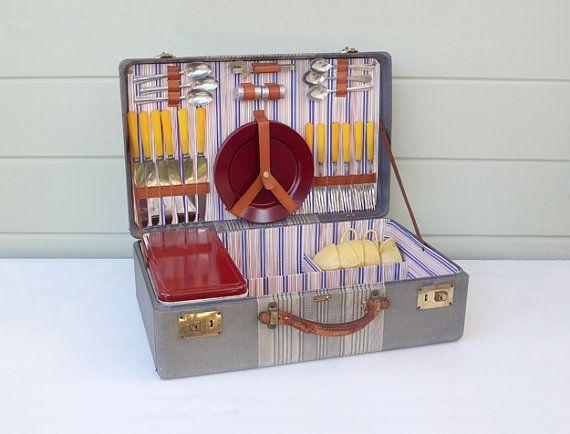 Vintage Picnic Suitcase / Basket | Vintage suitcases, Vintage and ...