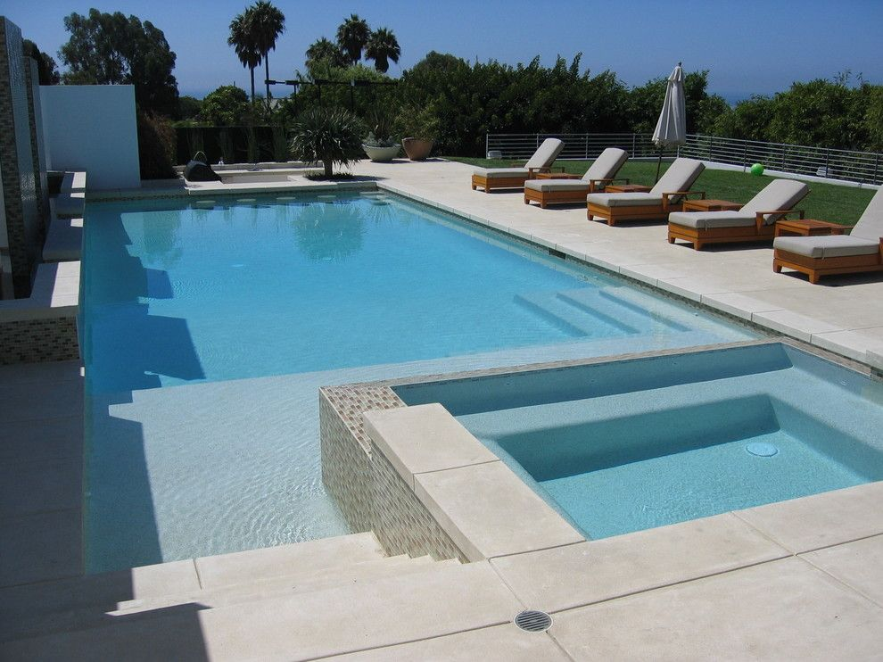 Tuinverbouwing Los Angeles : Bright stamped concrete cost mode los angeles contemporary pool