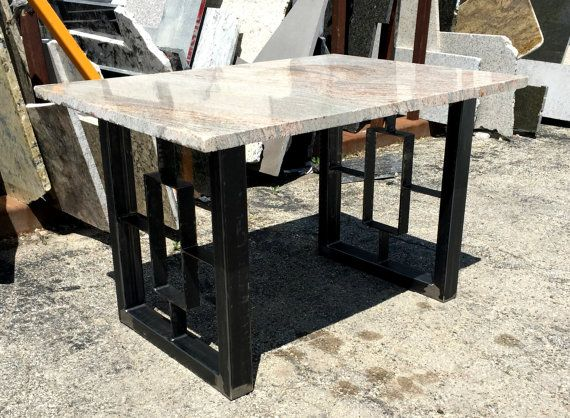 Modern Dining Table Granite Top With Steel Square Legs Modern