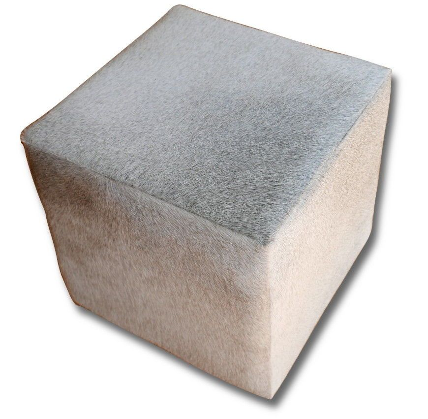 New Cowhide Cube Ottoman Foot Stool Natural Grey Cow Hide