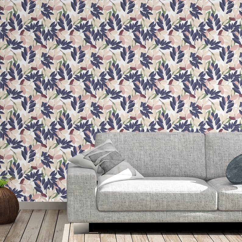 Romantic Leaves Removable Wallpaper Removable Wallpaper Etsy Peel And Stick Wallpaper Removable Wallpaper Victorian House Interiors