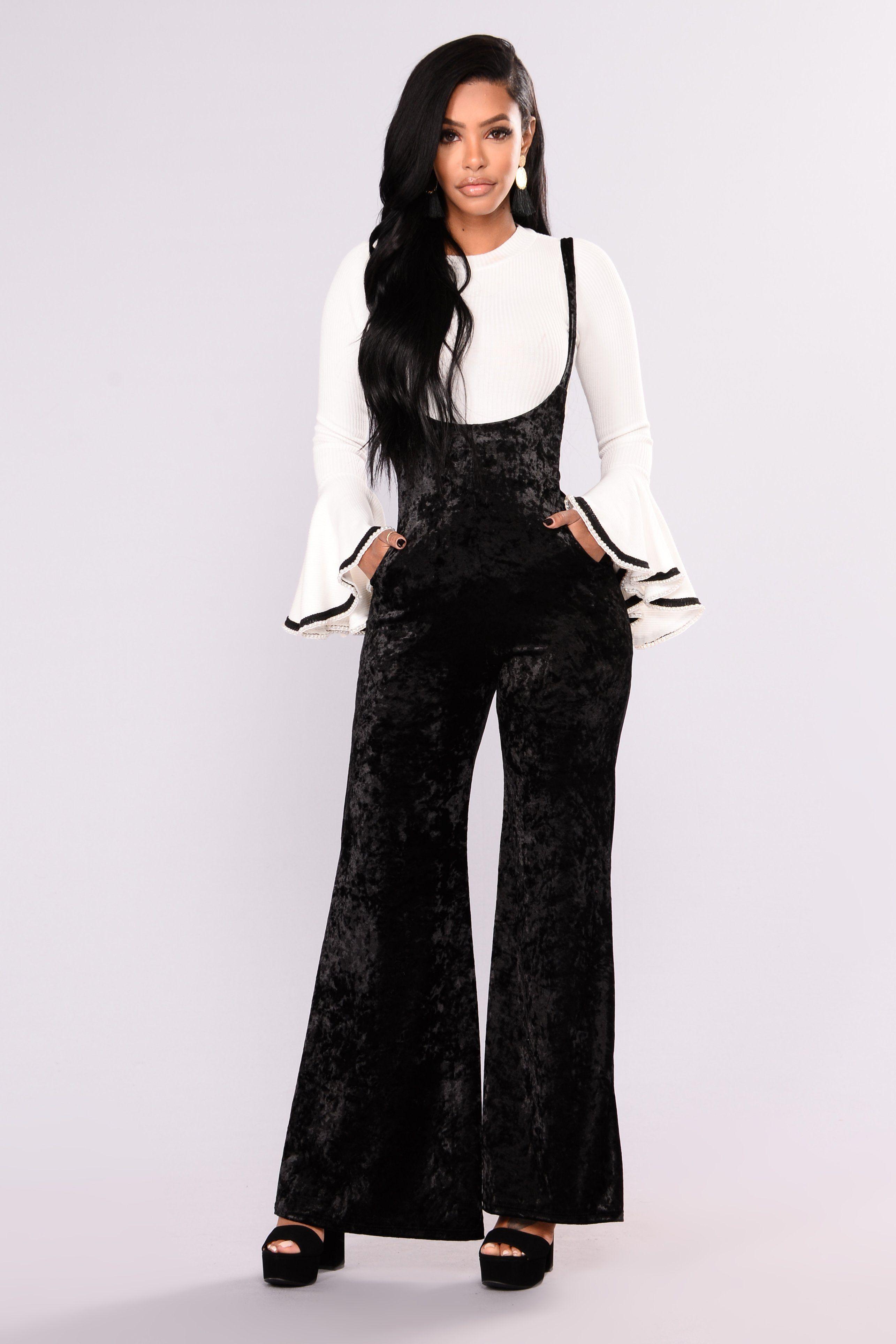 5ac80e07eb2 dope fashion nova More On The Weekend Crushed Velvet Jumpsuit - Black