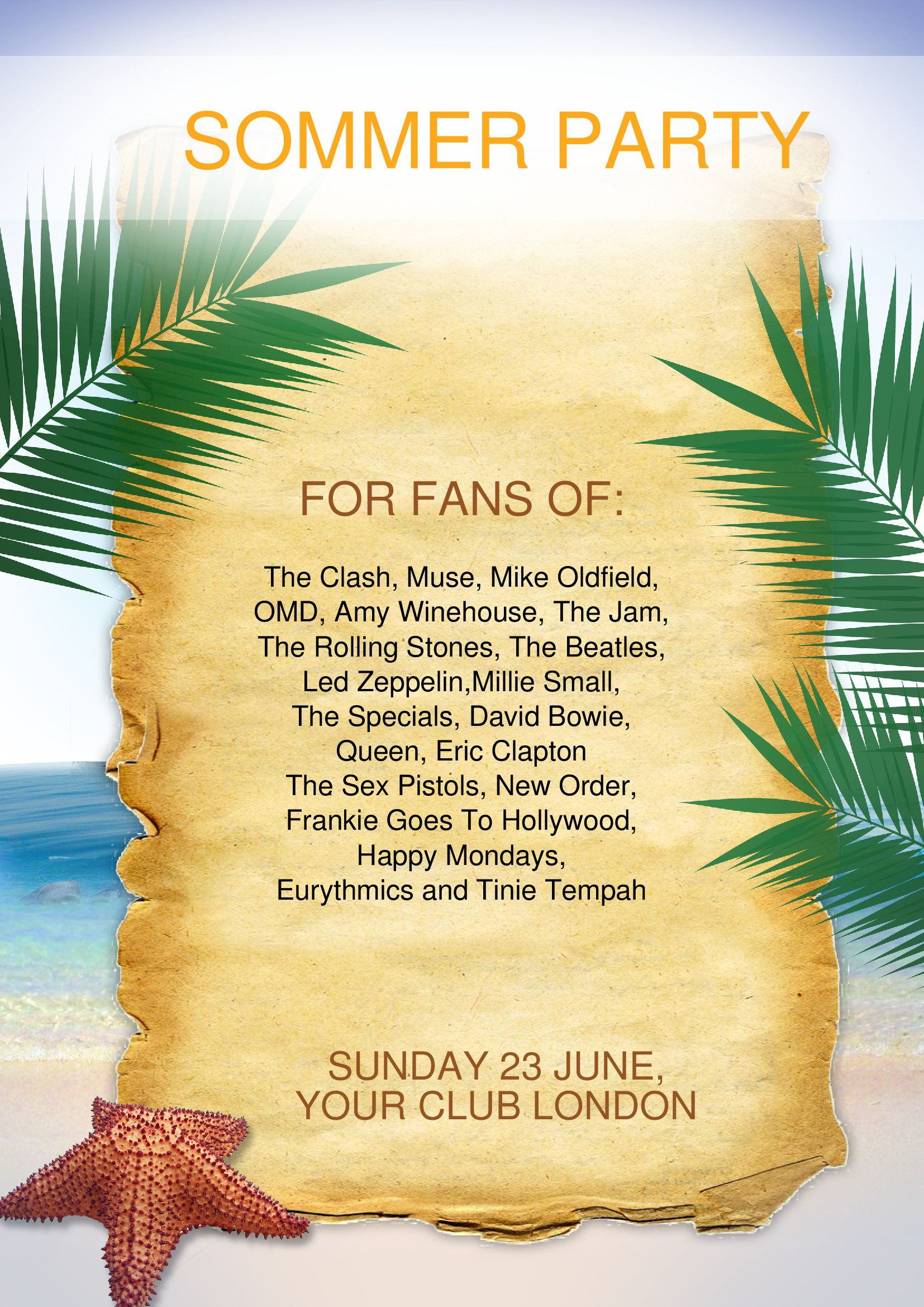 Hot Summer Party Flyer Template For A Mainstream Music Summer