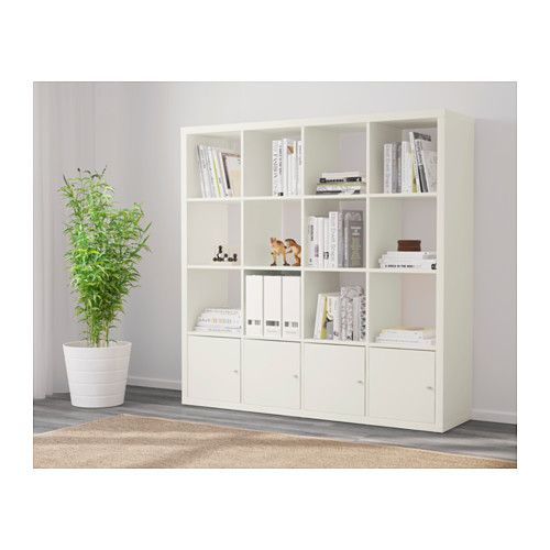 Shelf unit with 4 inserts KALLAX white in 2019 | Craft ...