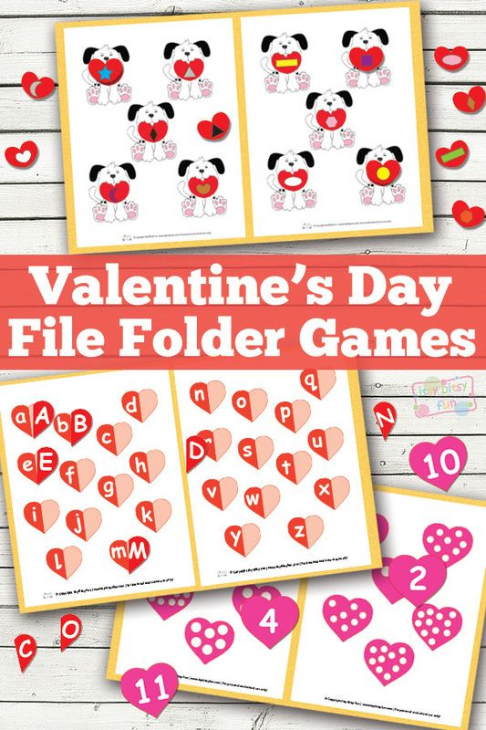 Valentines Day File Folder Game Valentines Day Activities Valentine Activities Valentines School