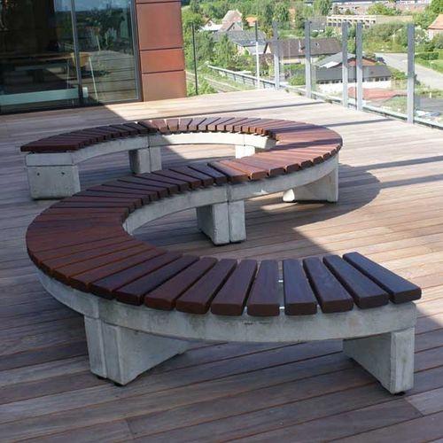 Contemporary Public Bench In Wood And Concrete Falcosystem Falco Backyard Patio Concrete Wood Concrete Garden