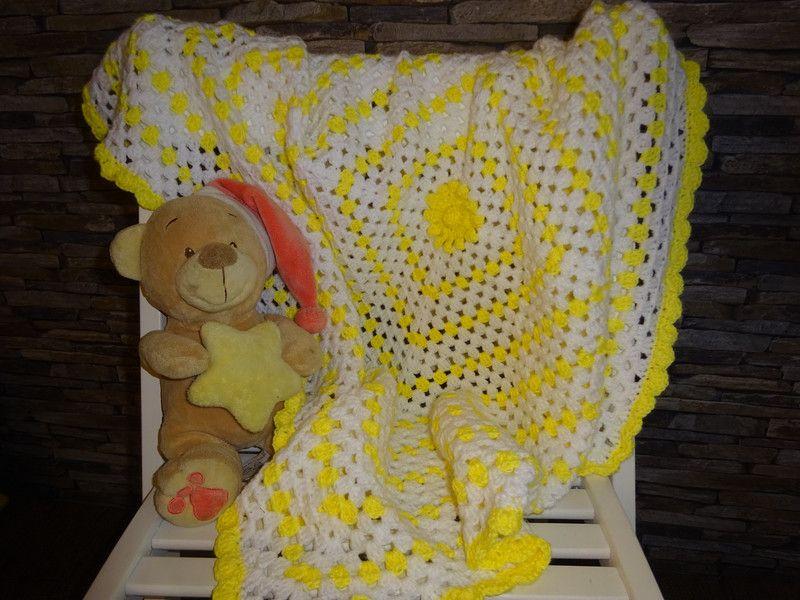 Leuchtende Babydecke Gehäkelt Weiß Gelbes Granny Von Babys