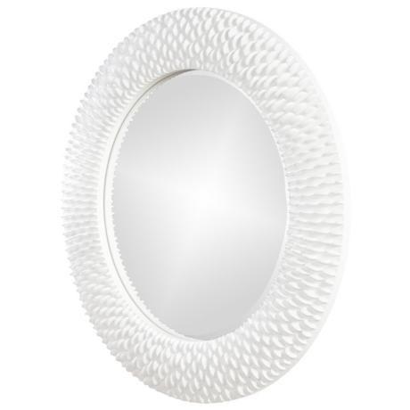Berman ribbed glossy white 32 round wall mirror r2045 for White round wall mirror