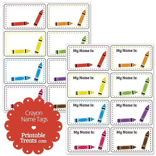 Printable crayon name tags theme for room pinterest for Crayon labels template