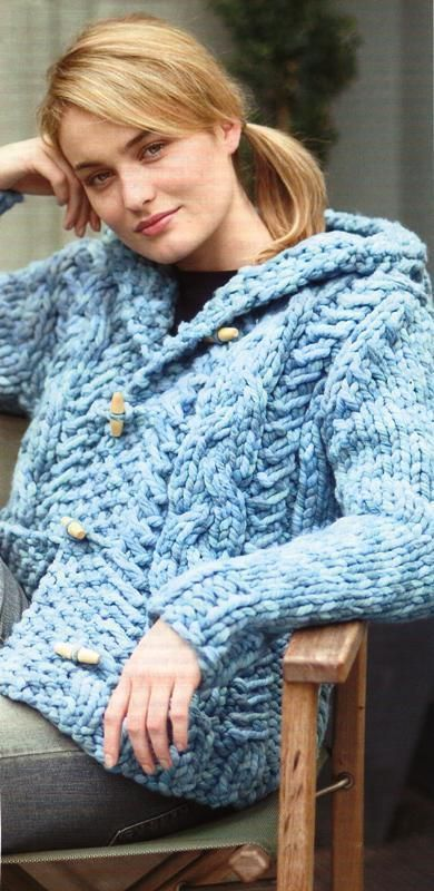 Ladies super chunky cabled cardigan / jacket knitting ...