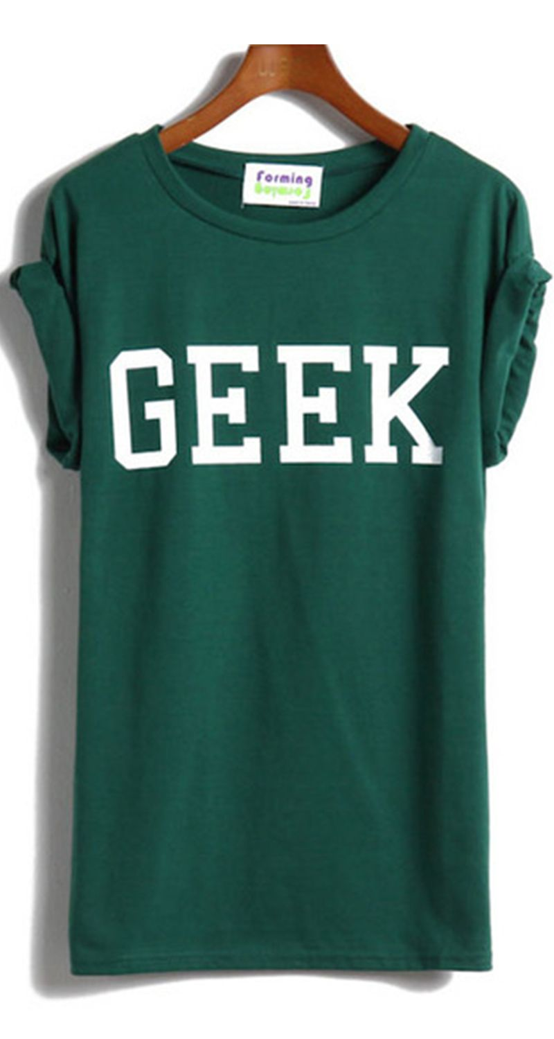 a375f41c32ae GEEK Print Green T-Shirt
