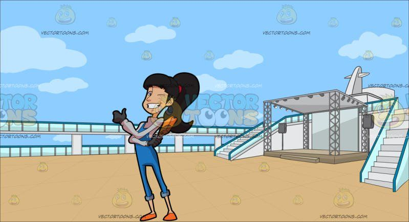 A Happy Lady Painter At An Empty Deck Of A Cruise Ship Happy - Cruise ship jumper