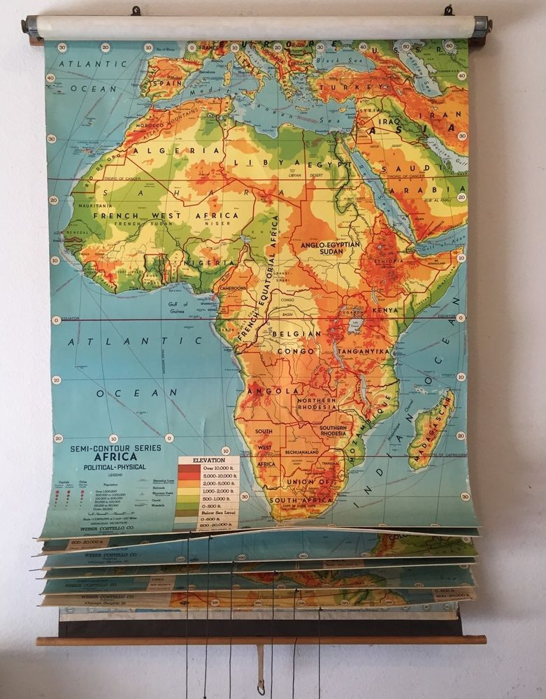 Vintage School Classroom Pull Down World Map 7 Layer Weber