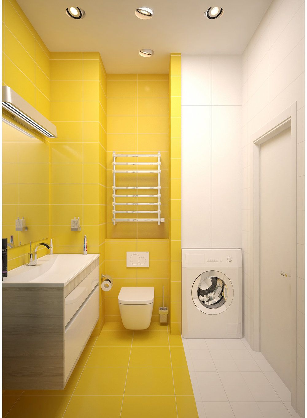 Yellow and white bathroom interior. Washing machine. Yellow