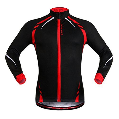 WOSAWE BC274 Mens Winter Thermal Fleece Long Sleeve Cycling Jersey M Red      Visit the image link more details. (Note Amazon affiliate link)   CyclingJersey 0bb2e58ca