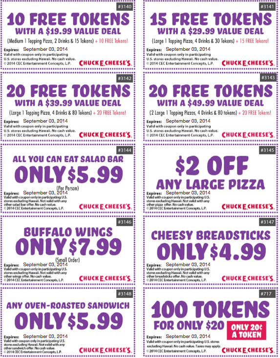 Follow Chuck E. Cheese to fun and use your Chuck E. Cheese promo codes to save money on a family day out or a birthday party your child will love. You'll find pizza, salads, sandwiches and desserts along with lots of games and entertainment to keep the kids busy/5(8).