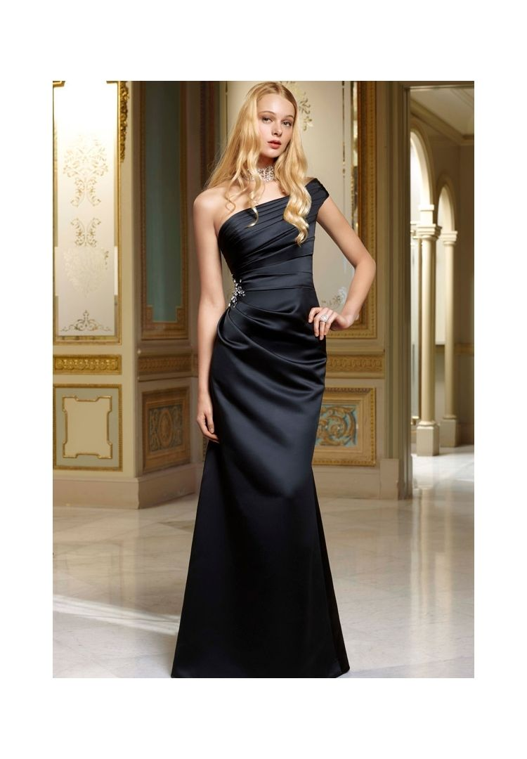 Bridesmaids dresses satin one shoulder satin gown with beading