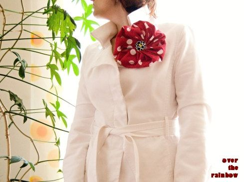 Very large flower brooch red white polka by OverTheRainbowTextil, $13.00