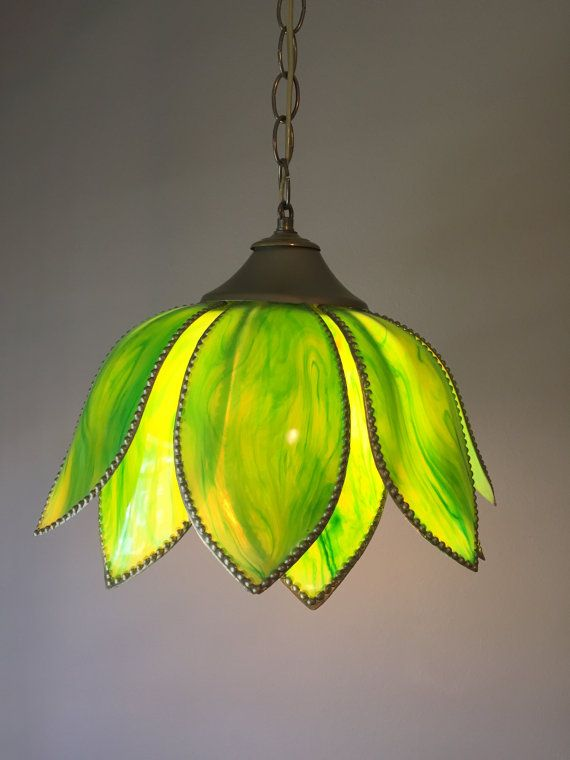 Vintage Tulip Light Green Swag Light Pendant Lamp Flower Light Fixture Mid Century Swag Lamp