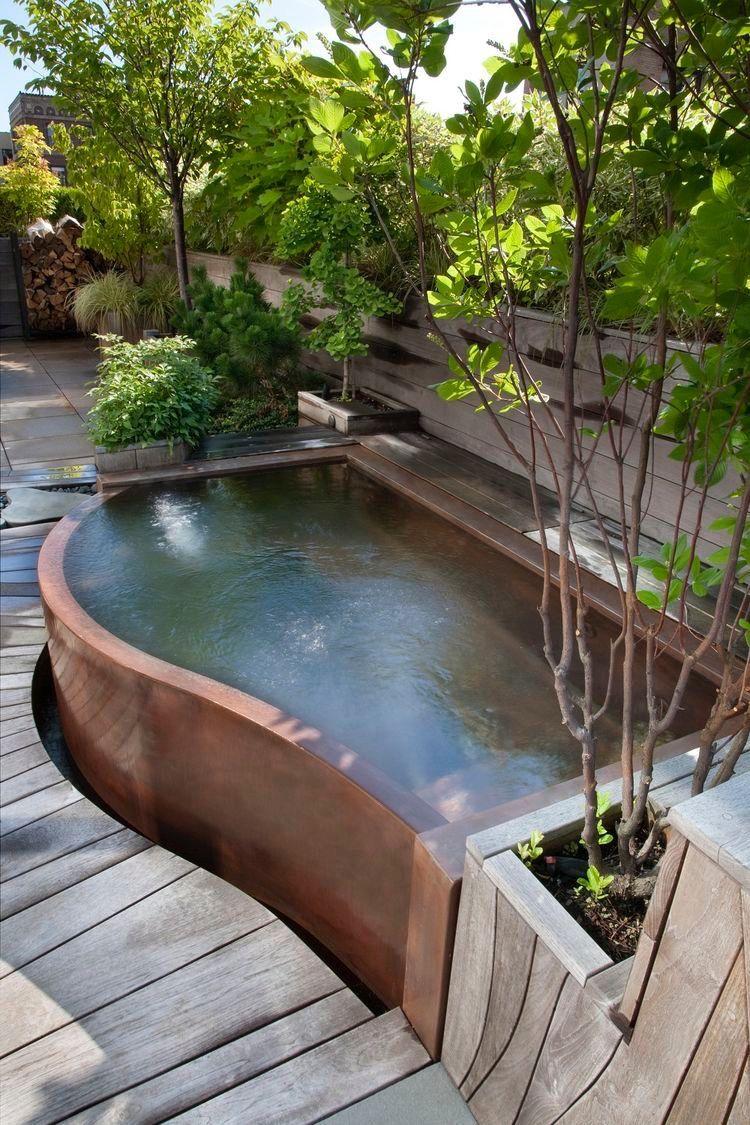 Copper Swim Spa Hot Tub Backyard Backyard Hot Tub Garden