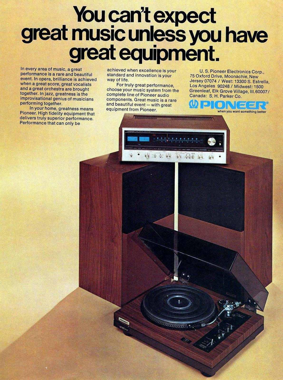1974 Pioneer Stereo Ad Vintage Electronics Stereo System Stereo