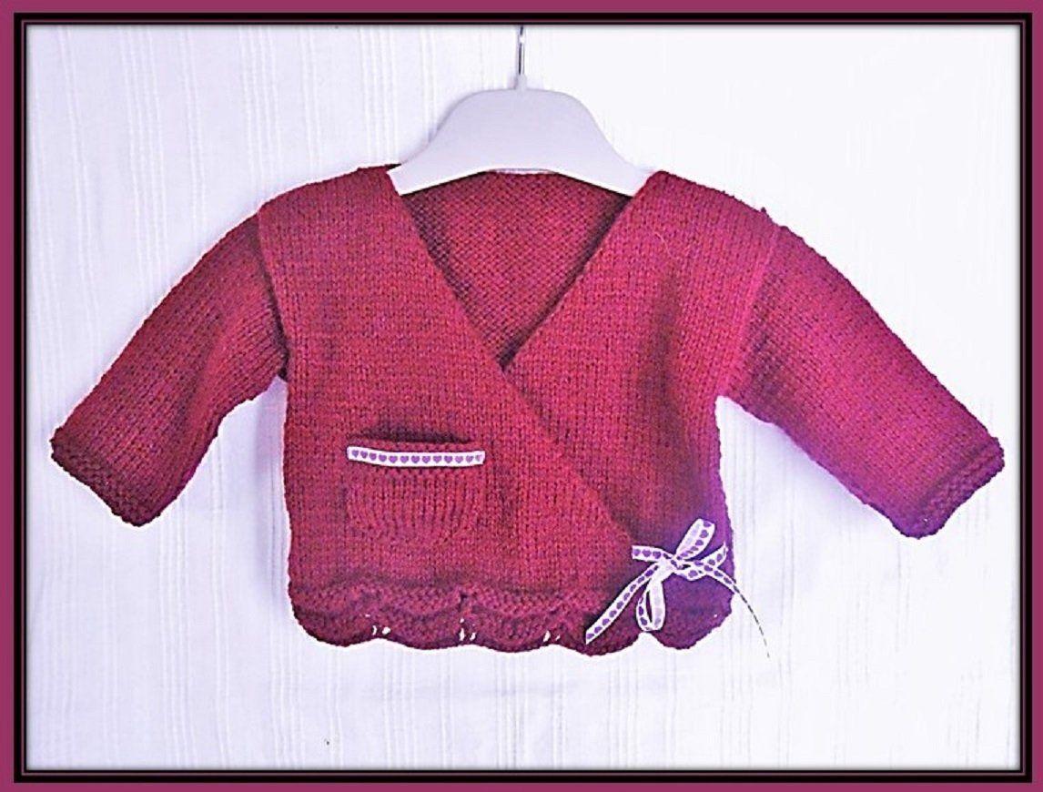 ee16d497659fe brassière bébé cache coeur brassière 3 mois tricotée main brassière fille