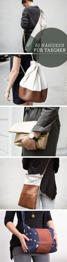 Diy 50 Nähideen für Taschen -  free diy tutorials for bags: sew your favorite shopper bag via DaWanda.com