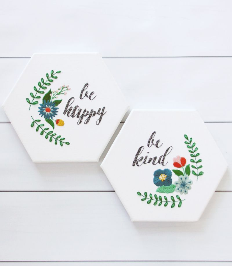 These unique Be Happy and Be Kind - Hexagon Canvas Embroideries are so fun to…