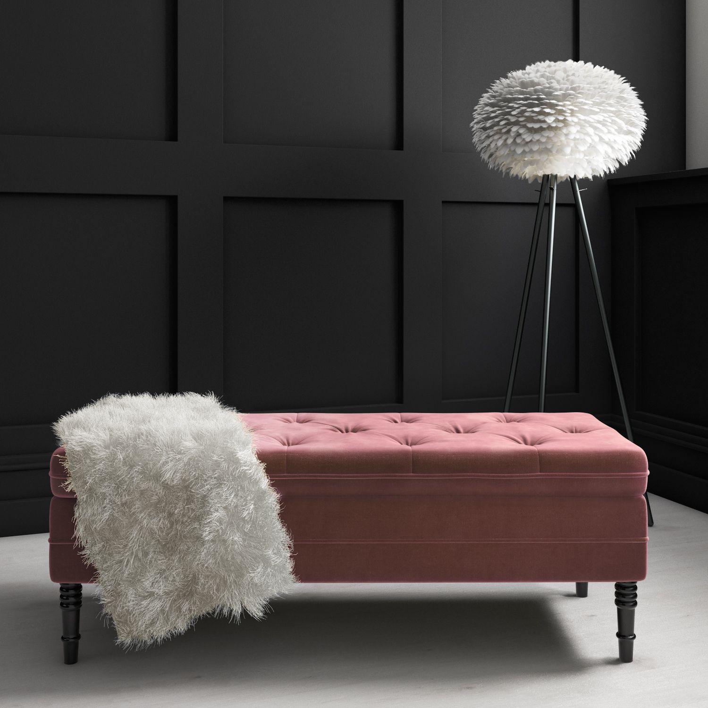 Safina Blush Pink Velvet Storage Blanket Box Saf051