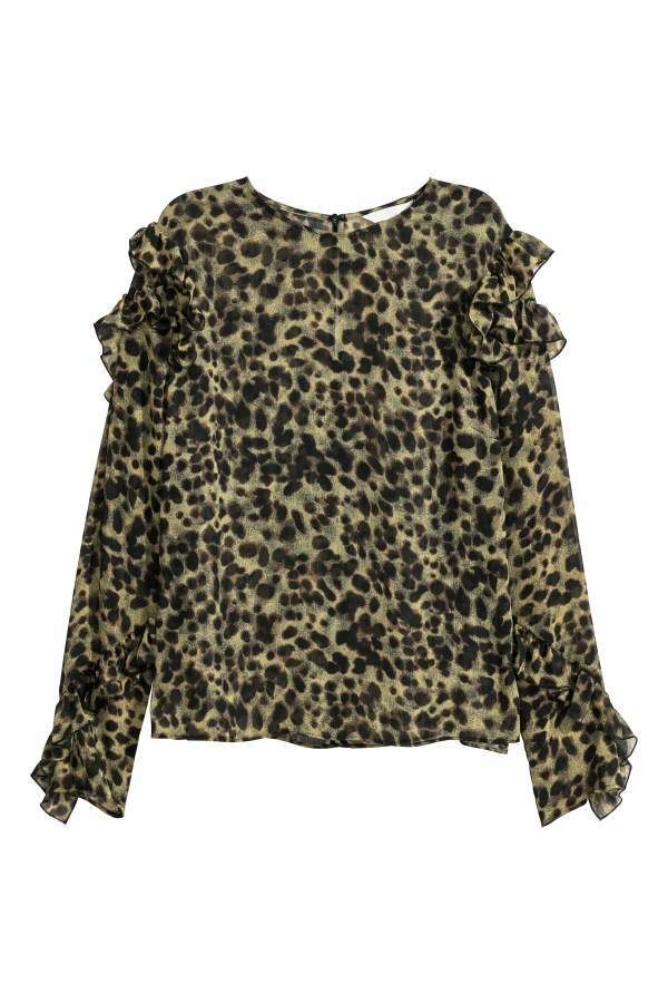 a20b6f5f689e H&M Blouse with Flounces - Green/leopard print - Women | Products ...