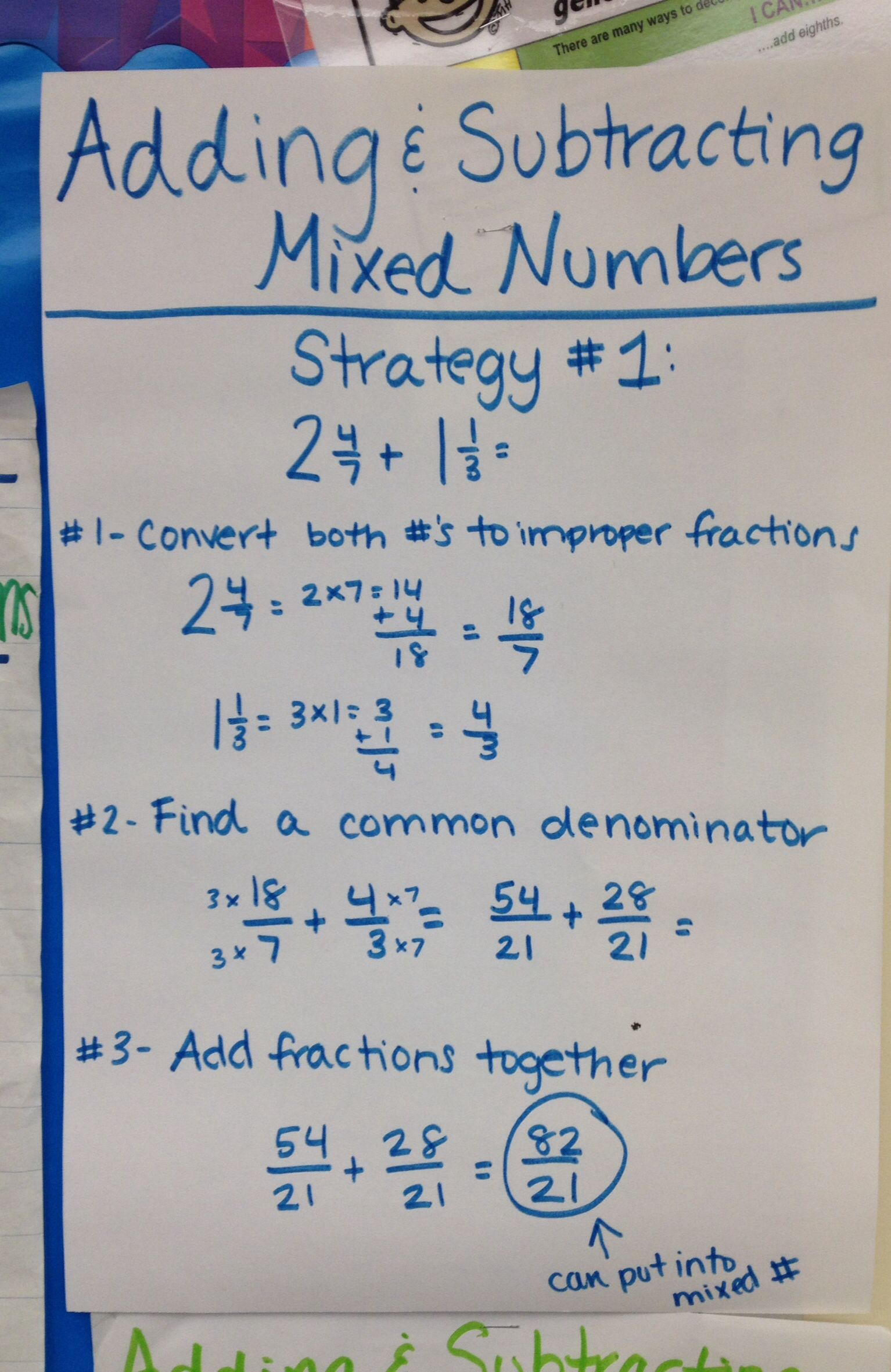 Adding and subtracting mixed numbers fifth grade math